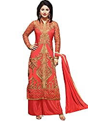Grapsy Fashion Women's Georgett Salwar Suit Dress Material (Heena Orrange_Red)