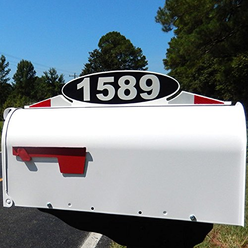 Mailbox Address Plaque, Relfective Number Plate, Mailbox Topper. Self Stick Mailbox Address Marker or hardware mounting! (Mailbox Number Plate compare prices)