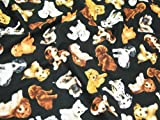 Premier Cotton Prints Quilting Fabric - Realistic Dogs on Black - Fat Quarter (20