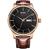 BUREI® Men's Day and Date Brown Calfskin Leather Watch with Black Dial