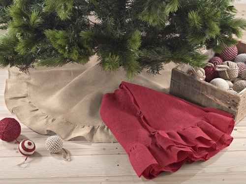 Ruffle Trim Jute Burlap Christmas Tree Skirt