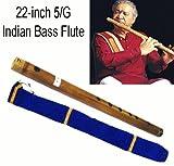 Classique Indienne 5/G 55 cm BANSURI Flûte de Bambou Transversale avec la Couverture de Velours. Qualité Professionnelle.