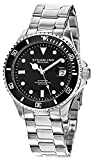 "Stuhrling Men's Watch HN792.01 Speacialty Automatic Sport ""Aquadiver Regatta"" Date Stainless Steel Link Bracelet Black Dial Diver Watch"