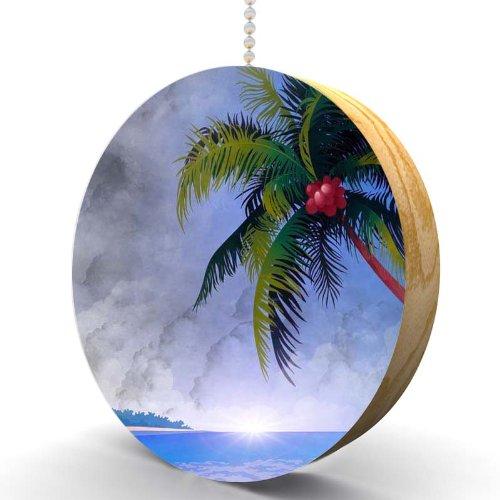 Island Palms Hardwood Oak Fan / Light Pull front-986695