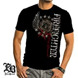 Elite Breed Firefighter Pride Duty Honor Foil T-shirt by Erazor Bits, Black
