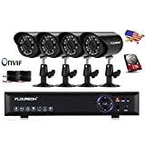 Floureon 4CH 960H Onvif CCTV DVR with 4 x 900TVL Night Vision Bullet Cameras +1TB HDD Kit (Cloud-Based Remote Access, Smart Motion Detection, Email Alert, Home Security System)