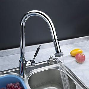 Hiendure Deck Mount Solid Brass Kitchen Sink Faucet With Flexibl