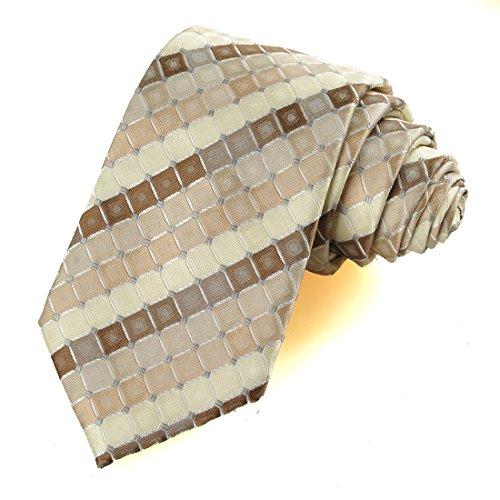 Pure White Diamond Silk Classic Woven Man Tie Necktie (Ivory Beige)