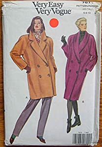 Vogue 7871 Sewing Pattern, Very Easy Double Breasted Coat in 2 Lengths, Sizes 6-8-10