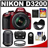 Nikon D3200 Digital SLR Camera & 18-55mm G VR DX AF-S Zoom Lens (Red) with 55-200mm VR Lens + 16GB Card + Case + Filters + Remote + Accessory Kit