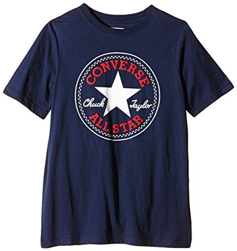 Converse - Chuck Patch, T-shirt Bambino, Blu (Converse Navy/Red Print), 2-3 anni (Taglia Produttore: 2-3Y)