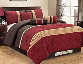 7-Pc Quilted Geometric Medallion Pleated Striped Comforter Set Queen Burgundy Red Tan Brown