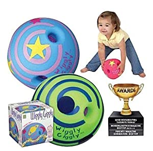 Designed To Make Noises When Its Turned And Rolled - Large Wiggly Giggly Ball by Toysmith (assorted colors, sold individually)