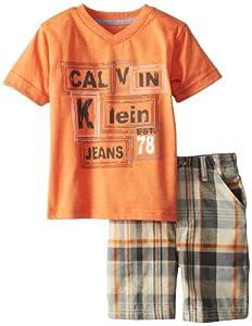 Calvin Klein Boys 2-7 V-Neck Tee with Plaided Short-Toddler by Calvin Klein