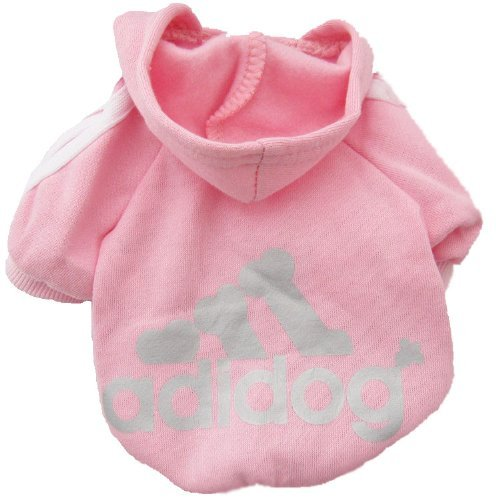 "Adidog Pet Puppy Dog Cat Coat Clothes Hoodie Sweater Costumes- Pink : Size S (Body 7""-8"", Chest 11""-12"", Neck 9"")"