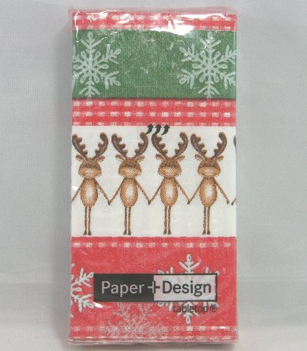 N° 3 pacchettiFazzoletti da Naso in carta deco Renne Natale. 10 pzcad.