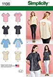 SIMPLICITY Patterns 1106 Misses' Tops with Fabric Variations, A (XXS-XS-S-M-L-XL-XXL)