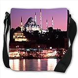 Suleymaniye Camii Mosque on River Side in Turkey Small Black Canvas Shoulder Bag / Handbag