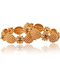 Adwitiya 24k Gold Plated Rich Pearl And Shining Stone Studded Beautiful Traditional Bangle Set For Womens