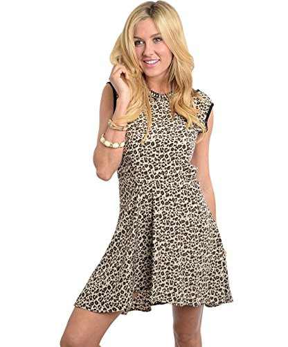 2Luv Women'S Leopard Animal Print Fit & Flare Dress Gray L (Dh7302)