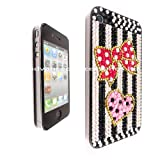 FOR IPHONE 4 4G 16GB 32GB PINK HEART RED BOW RHINESTONE DIAMOND HARD CASE CRYSTAL DIAMANTE BACK COVER
