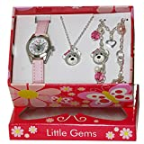 Ravel 'Little Gemz' Teddy Bear Jewellery Set Girl's Quartz Watch with White Dial Analogue Display and Pink Plastic Strap R2224