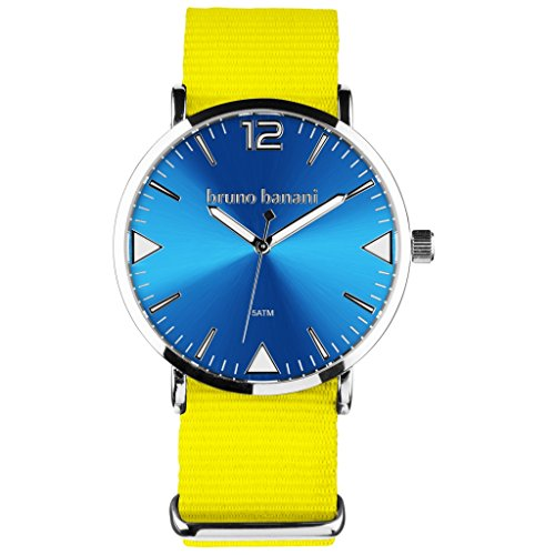 Bruno Banani BR30067 Cool Color Watch Unisex Analogue Air Band Metal 50 m yellow/blue