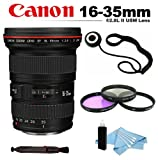 Canon EF 16-35mm f/2.8L II USM Autofocus Lens + Filter Kit (UV-CPL-FLD) + Lens Cap Keeper + Lens Cleaning Pen + Cleaning Kit For Canon Rebel 60D, 7D, 5D Mark, 5D Mark II, 5D Mark III Digital Cameras