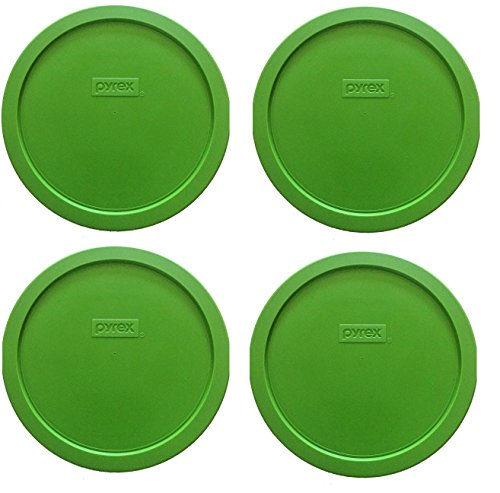 Pyrex 7 Cup Round Storage Cover #7201-PC for Glass Bowls (4 Lids, Green)
