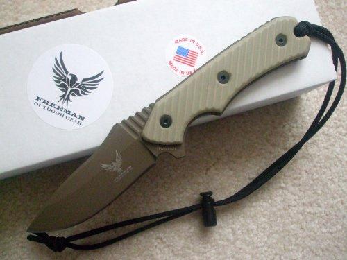 Freeman Outdoor Gear Compact 451 Fixed Blade Knife Dark Earth Blade Desert Sand Handle