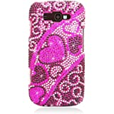 Eagle Cell PDSAMI667F384 RingBling Brilliant Diamond Case for Samsung Focus 2 i667 - Retail Packaging - Pink/Black Heart