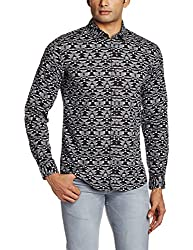 Wrangler Men's Casual Shirt (8907222644109_W14821945485_Small_Black)