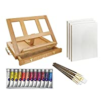 US Art Supply Wood Easel Box Set with 12 Colors, Canvas Panels, Brushes, Palette, Pencil & Knife (Oil Paint Kit) from US Art Supply
