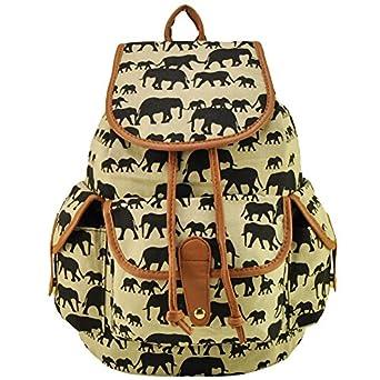 herebuy canvas elephant print book bags