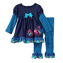 Rare Editions Baby Girl L/S Fall Butterfly Top and Capris (3-24m) (24 months)