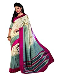 Infigo Women Cream Bhagalpuri Silk Printed Saree - B00UFGCEGC