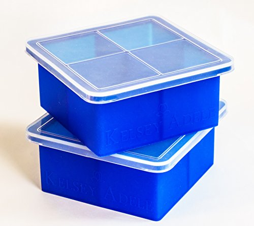 Kelsey Adele Silicone King Cube Ice Tray with Lid for 2-Inch Square Cubes, Set of 2 (Extra Long Muddler compare prices)