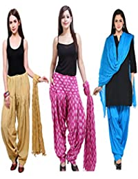 Bottom Line Women Cotton Printed And Plian Multi-Coloured Patiala Salwar With Dupatta Combo Of Assorted Color...