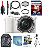 Sony a5100 16-50mm Interchangeable Lens Camera with 3-Inch Flip Up LCD (White) w/ Full Size Tripod, Backpack, Filters, 32GB Memory