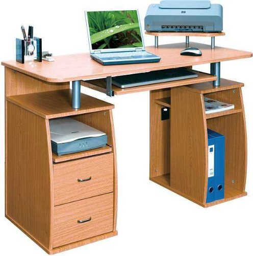 Piranha PC5o Large Computer Desk with 2 Drawers and 4 Shelves