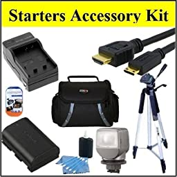 Starters Accessory Kit for Sony HDR-XR260V HDR-CX220 HDR-CX230 HDR-CX290 HDR-CX380 HDR-CX430V HDR-PJ230 HDR-PJ380 HDR-PJ430V HDR-PJ650V HDR-PJ790V HDR-TD30V Handycam Camcorder - Includes Replacement NP-FV70 Battery + Battery Charger + Video Light + Deluxe