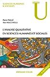 L'analyse Qualitative En Sciences Humaines et Sociales (u) 3e Ed.