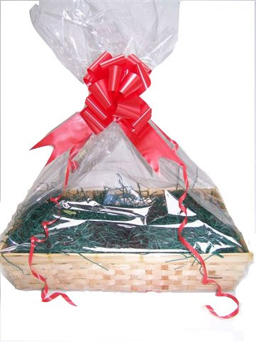 Christmas Basket, Beale Large, Green Shred, Red Bow, Christmas greeting Card,cellophane bag, DIY Hamper Kit, storage basket,