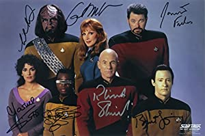 Star Trek TNG Signed Full Cast Photo Signed by Patrick Stewart Brent Spiner, Levar Burton, Michael Dorn Marina Sirtis, Jonathan Frakes and Gates Mcfadden McF Signed / Autographed 8x10 Glossy Star Trek Photo As Data. Includes Fanexpo Fanexpo Certificate of