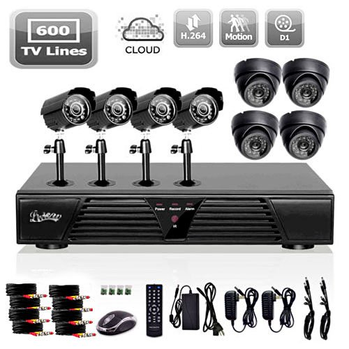 Best Review Of Liview® Full D1 8ch DVR and Outdoor/indoor 600 Tvline Camera System