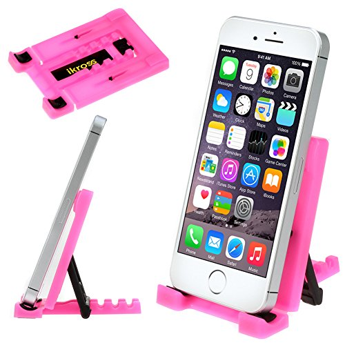 Ikross Hot Pink Universal Portable Collapsible Desk Stand Holder For Smartphones, Mp3 Players, Iphone