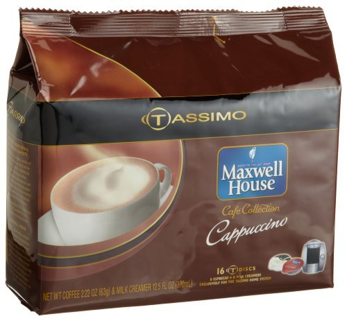Maxwell House Cafe Collection Cappuccino (8 Servings), 16-Count T-Discs For Tassimo Coffeemakers (Pack Of 2)