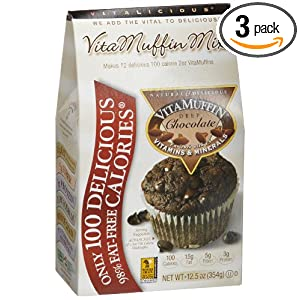 Vitalicious VitaMuffin Mix, Deep Chocolate, 12.5-Ounce Packages (Pack of 3)