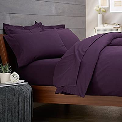 [hachette] 50:50 POLY COTTON RICH QUALITY PERCALE FITTED SHEET AUBERGINE PURPLE - DOUBLE BED SIZE