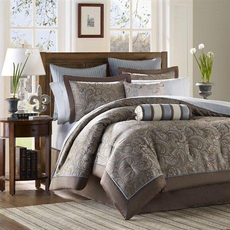 Madison Park Aubrey 12 Piece Comforter Set - Blue - Full front-849183